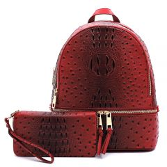 OS1062W OSTRICH and CROC 2-in-1 FASHION BACKPACK w/MATCHING WALLET SET~RED
