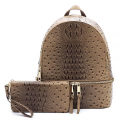 OS1062W OSTRICH and CROC 2-in-1 FASHION BACKPACK w/MATCHING WALLET SET~STONE
