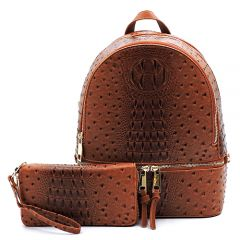 OS1062W OSTRICH and CROC 2-in-1 FASHION BACKPACK w/MATCHING WALLET SET~TAN