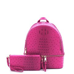 OS1082W OSTRICH and CROC 2in1 FASHION SMALL BACKPACK WALLET SET~FUCHSIA