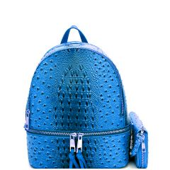 OS1082W OSTRICH and CROC 2in1 FASHION SMALL BACKPACK WALLET SET~ROYAL BLUE