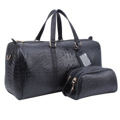 OS1100 2-in-1 OSTRICH CROC LARGE SIZE TRAVEL DUFFEL BAG w/LUGGAGE TAG AND POUCH~BLACK