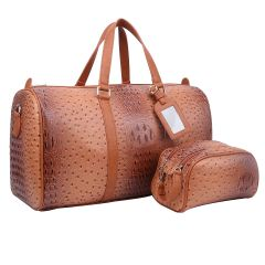 OS1100 2-in-1 OSTRICH CROC LARGE SIZE TRAVEL DUFFEL BAG w/LUGGAGE TAG AND POUCH~TAN