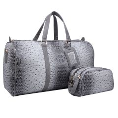 OS1100 2-in-1 OSTRICH CROC LARGE SIZE TRAVEL DUFFEL BAG w/LUGGAGE TAG AND POUCH~GREY