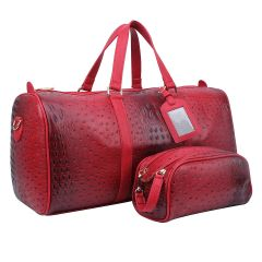OS1100 2-in-1 OSTRICH CROC LARGE SIZE TRAVEL DUFFEL BAG w/LUGGAGE TAG AND POUCH~RED