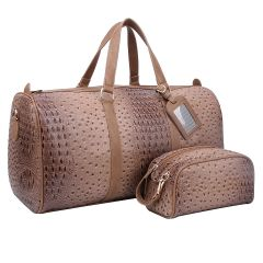 OS1100 2-in-1 OSTRICH CROC LARGE SIZE TRAVEL DUFFEL BAG w/LUGGAGE TAG AND POUCH~STONE