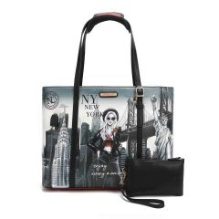 P15201 NICOLE LEE TRENDING SHOPPER BAG WITH USB CHARGING PORT~LIFE IN NEW YORK