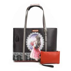 P15201 NICOLE LEE TRENDING SHOPPER BAG WITH USB CHARGING PORT~WAITING FOR YOU