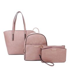LF19187-T3 3-IN-1 MODERN STYLISH SATCHEL BACKPACK AND CLUTCH SET~PINK