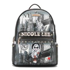 USB12769L NICOLE LEE FASHION PRINT BACKPACK WITH USB CHARGING PORT~LIFE IN NEW YORK
