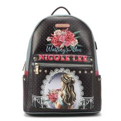 USB12769L NICOLE LEE FASHION PRINT BACKPACK WITH USB CHARGING PORT~WAITING FOR YOU